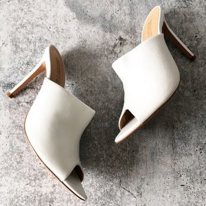 Schutz Trudy White Leather Heels Mules